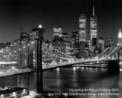 Top-Selling Art Print in Europe in 2007: New York, New York Brooklyn Bridge Henri Silberman