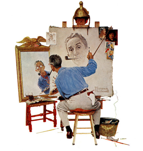 Triple Self-Portrait, February 13,1960 by Norman Rockwell