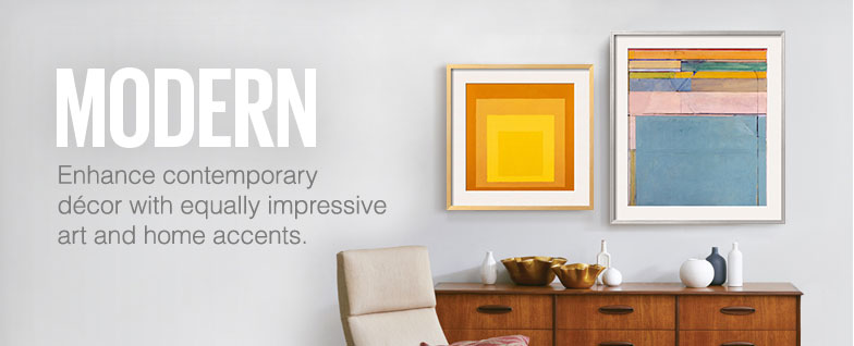 Modern - Enhance contemporary decor with equally impressive art and home accents.