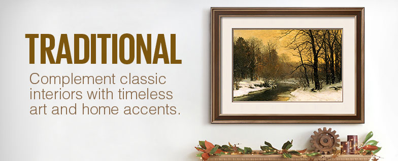Traditional Complement interiors with timeless art and home accents.