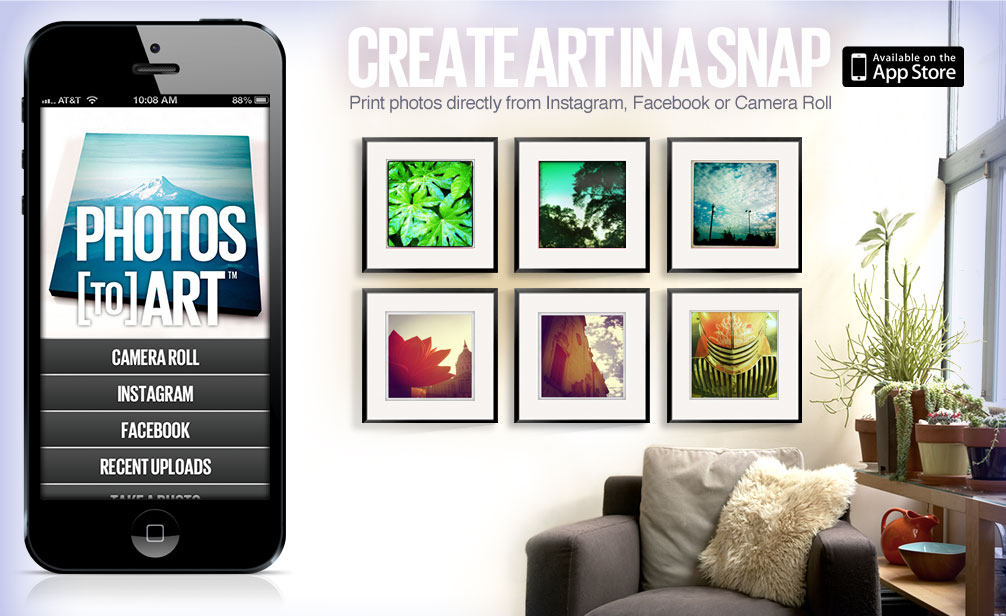 Create art in a snap. Print photos directly from Instagram or Camera Roll.