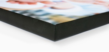 Museum Wrap: a canvas print feature which retains the whole picture on the front surface while surrounding it with a black border on the side edges.