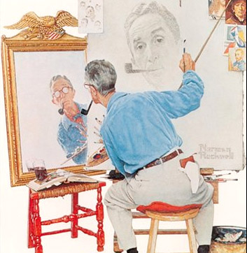 Triple Self Portrait Premium Poster by Norman Rockwell