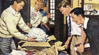 Stevan Dohanos, Package From Home, February 3, 1951