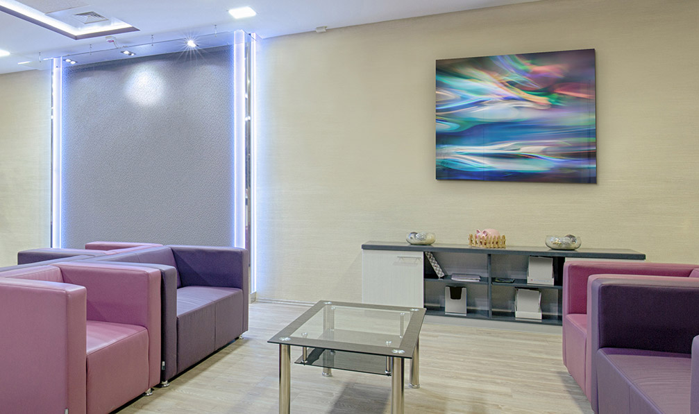 Framed abstract art print in a medical office. Patient area décor for doctor and dentist offices.